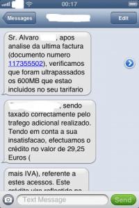 SMS de resposta com devolução do valor cobrado