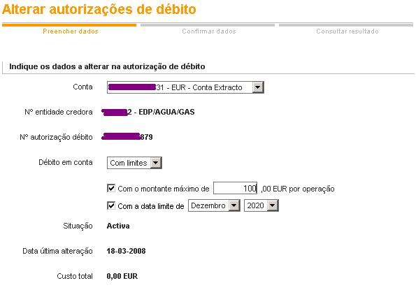 Exemplo de limitação do débito directo na CGD