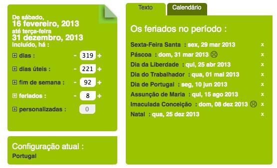 calcule o número de dias úteis e feriados