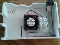 Ventoinha instalada na caixa do Raspberry Pi
