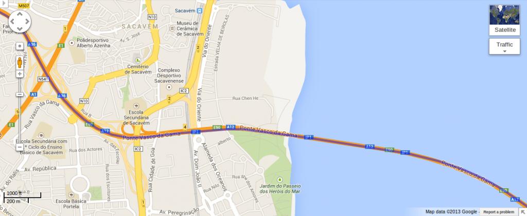 Percurso GPS obtido em Android no Google Maps