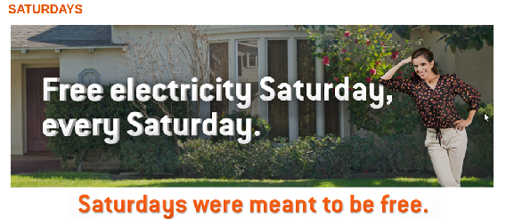 Oferta de electricidade gratuita aos Sábados