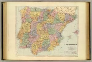 Mapa da Península Ibérica de 1901