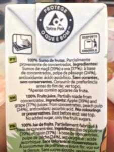 Ingredientes de uma embalagem com 100% sumo