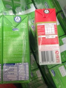 Composição de pacotes de leite meio gordo