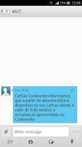 SMS que recebi do Continente