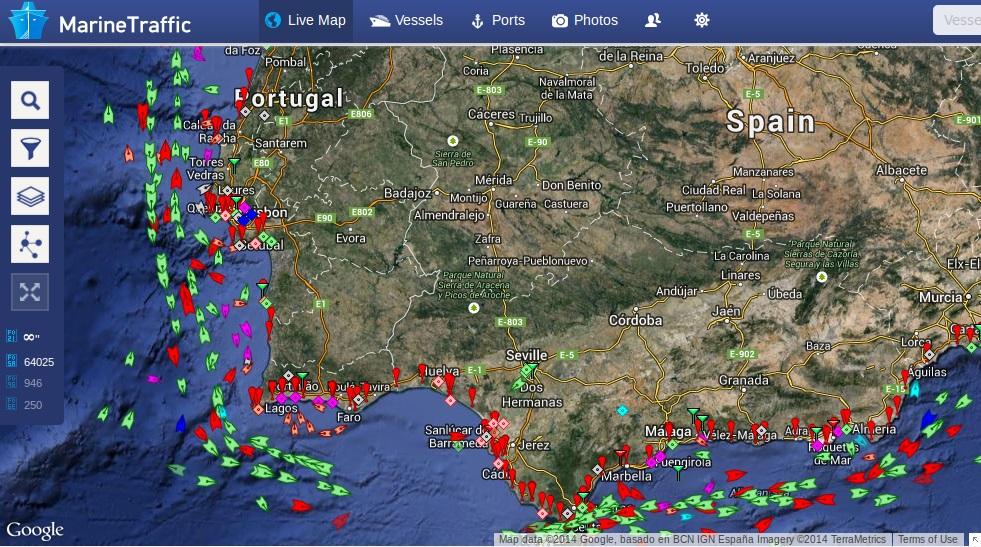 Tráfego no mar ao largo de Portugal
