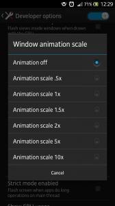 Desligando animações em Android