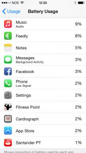 Controlo de energia do iOS 8