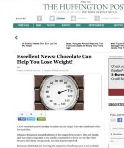 Notícia sobre chocolate