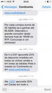 Promoções por SMS do Continente