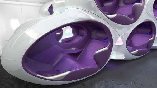 Exemplo de assentos num avião futurista?