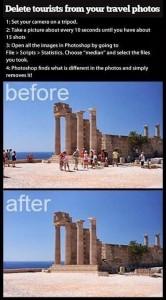 Como remover pessoas de fotografias de monumentos