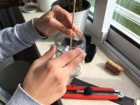 Bússola caseira - Cortar a vareta à altura do frasco