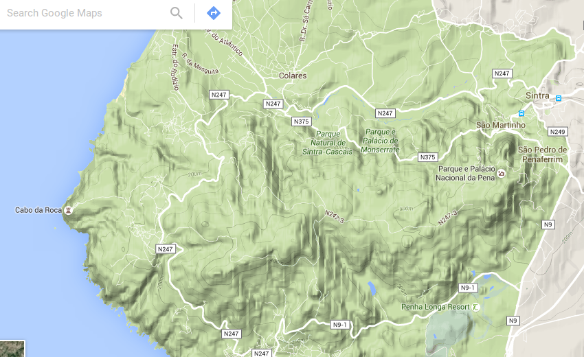 "Serra de SIntra no Google Maps ""Terrain"""