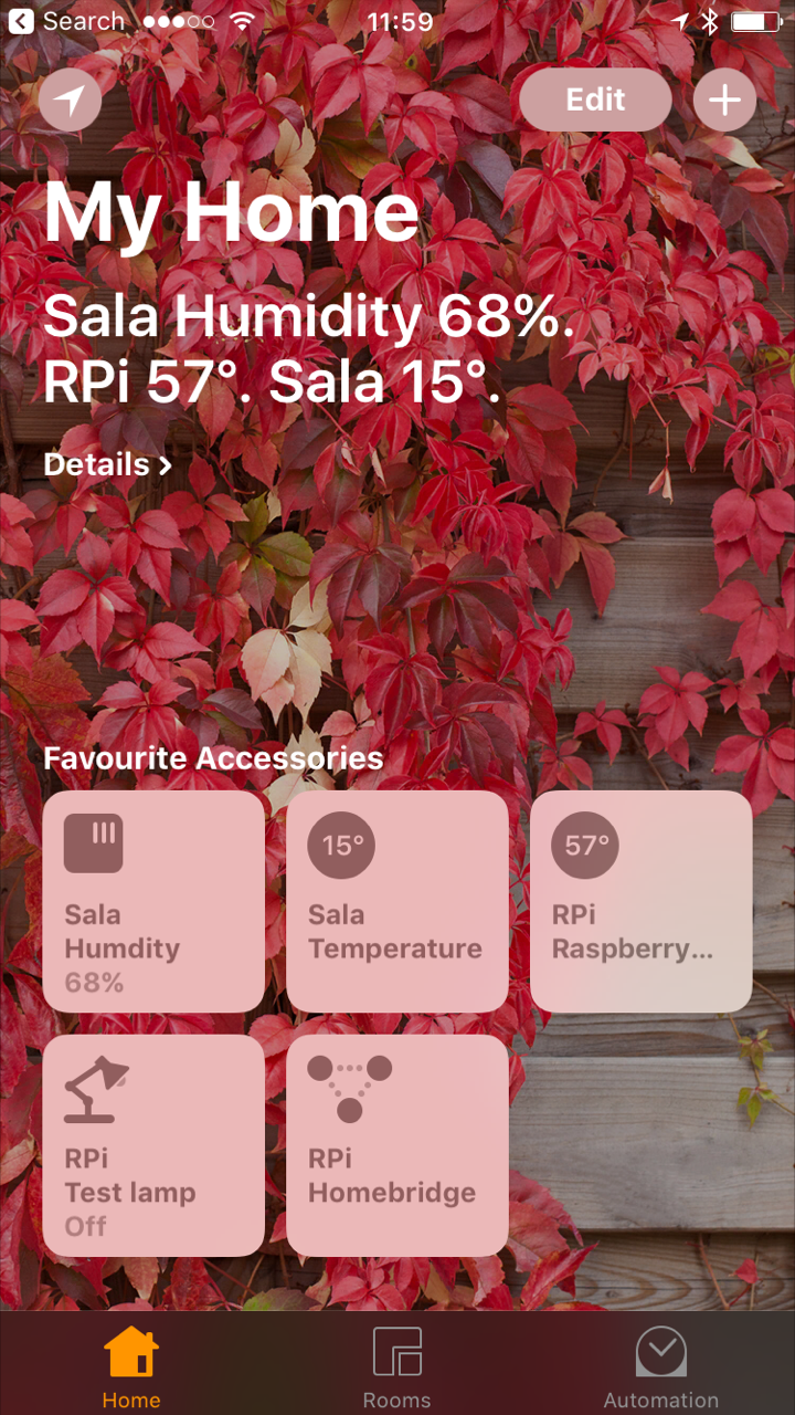 Home App no iPhone com sensores no Raspberry Pi mediados pelo Homebridge